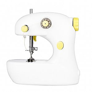 Sewing machine with double thread, automatic thread rewind