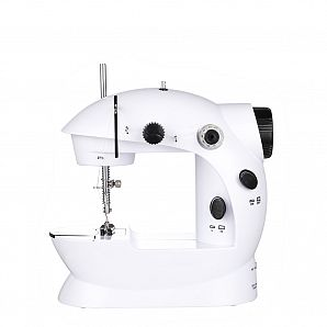 Battery operated portable sewing machine with light function